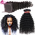 Peruvian Deep Wave With Closure 3/4 Bundles Peruvian Virgin Hair With Closure Deep Curly Human Hair With Closure And Baby Hair