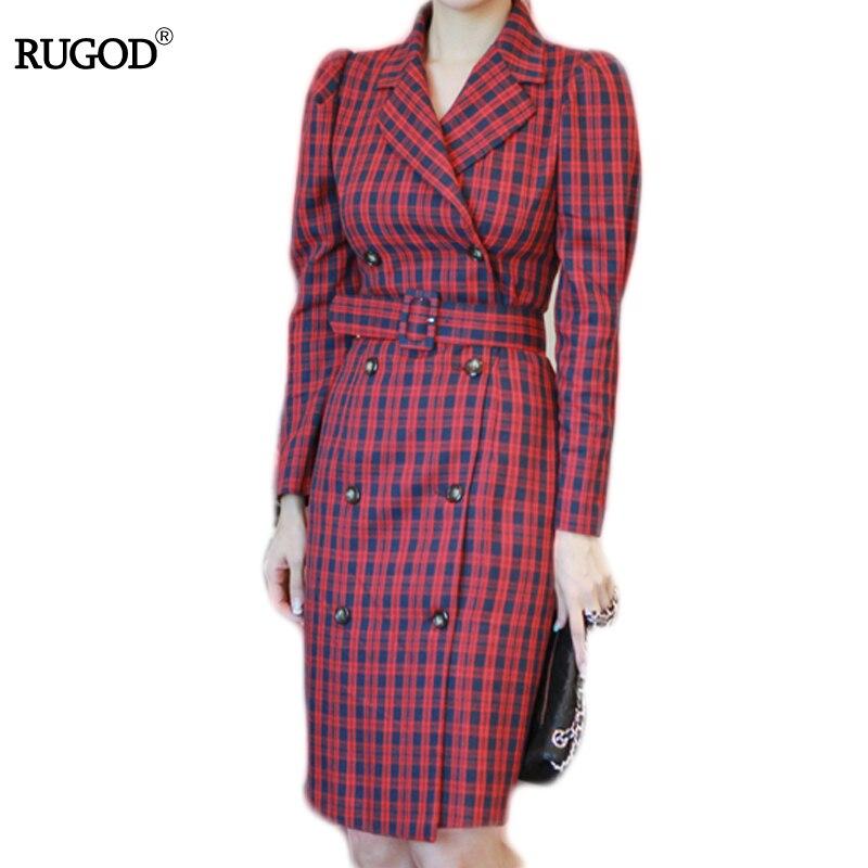 RUGOD 2018 Moda Plaid Dress V-neck Pas Kobiety Sukienka Z Długim Rękawem Podwójne Piersi Kolan Sukienka Kobiet