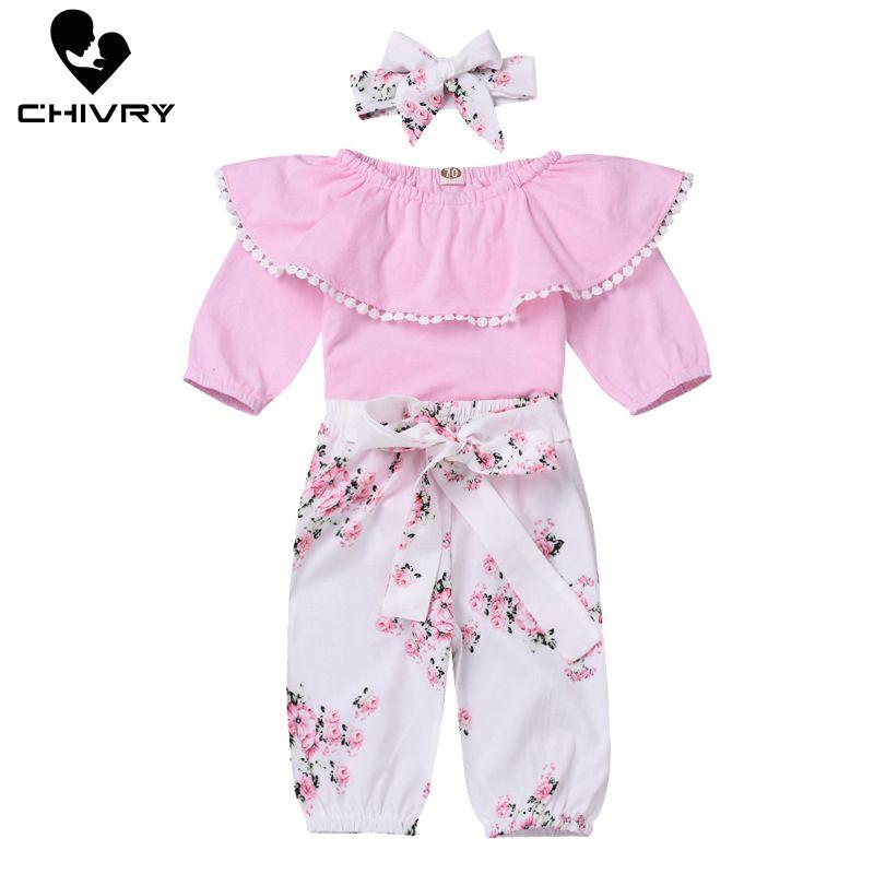 Chivry 3Pcs Newborn Baby Girls Ruffles Long Sleeve Bodysuit Rompers + Floral Pants Bowknot Headband Infant Clothing Set
