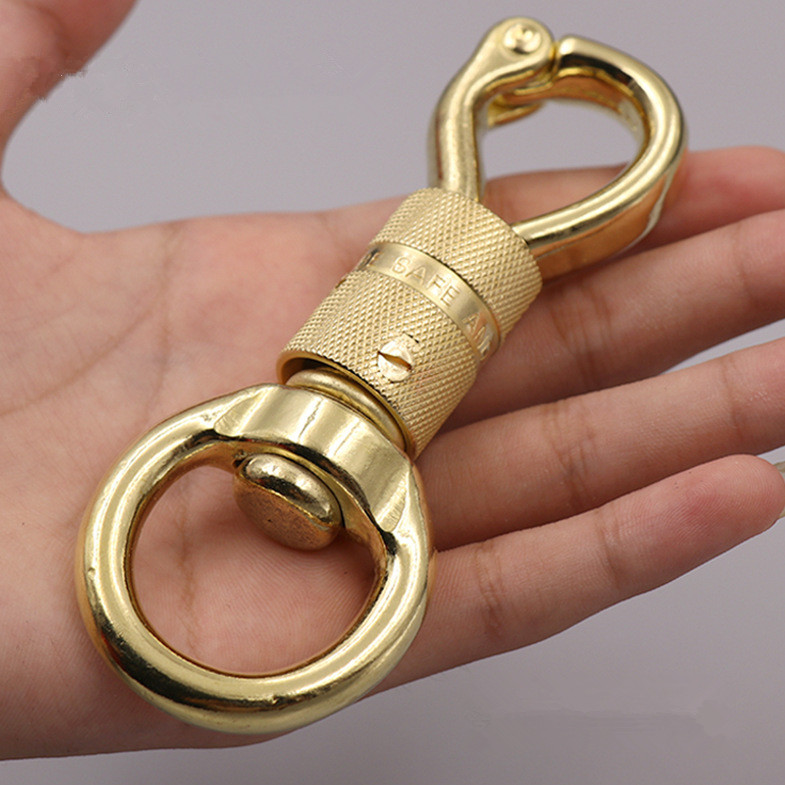 Solid Brass Skull Keychain Pants Clip Hook Bag Hook Car EDC Keychain Set
