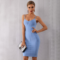High quality 2019 new summer bandage sexy dress blue pasta strapless celebrity party dress shein
