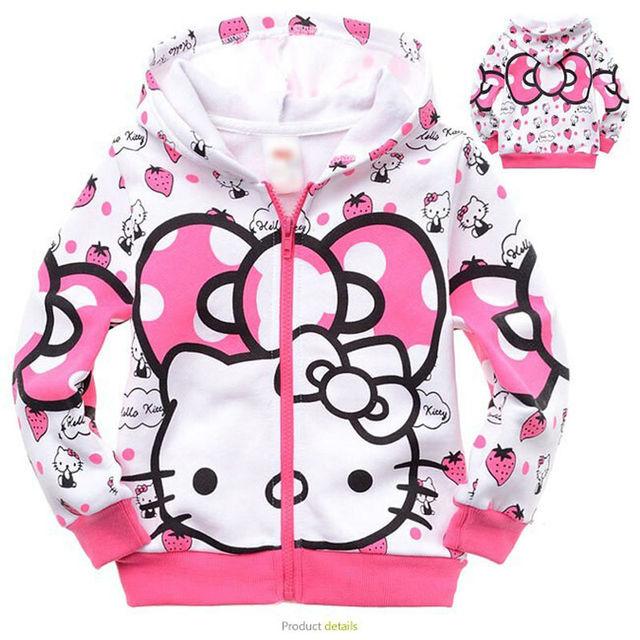 2016 Nueva otoño de Hello Kitty Sudaderas Con Capucha de manga larga ropa de niños hoodies de los niños sudaderas ropa
