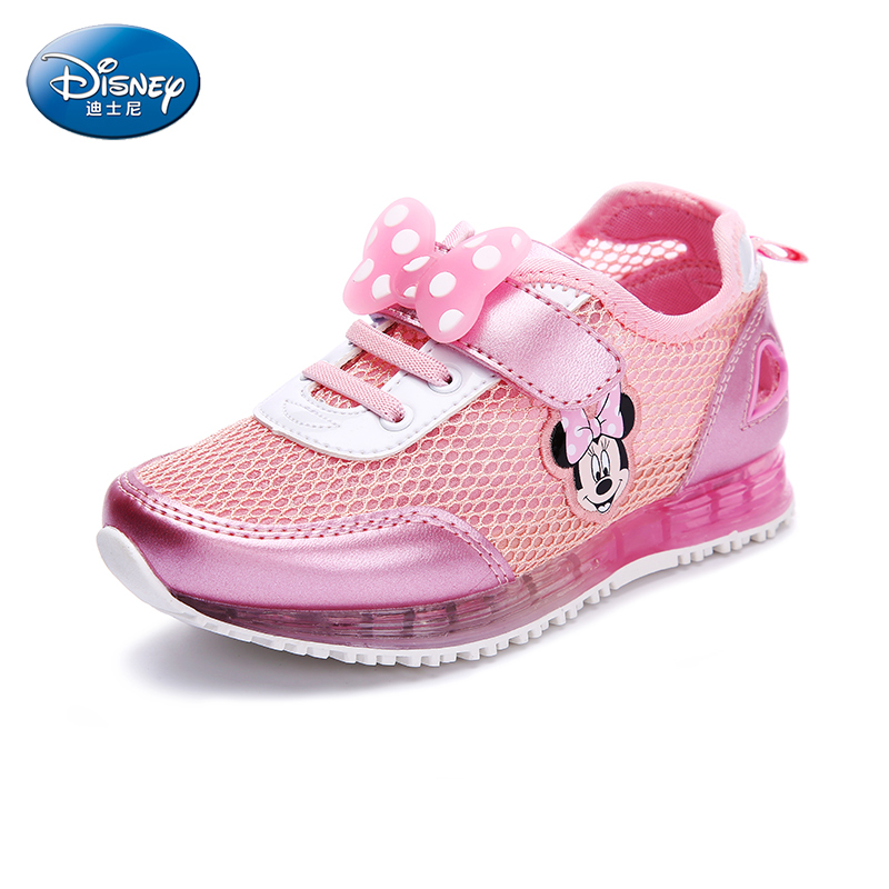 Disney Breathable Children Sport Casual Shoes Girl Lovely Mickey Style Cartoon Pattern With Lamp Flats Shoes DS2237 kelme 2016 new children sport running shoes football boots synthetic leather broken nail kids skid wearable shoes breathable 49