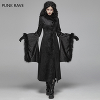 PUNK RAVE Women Gothic Coat Gorgeous Victorian Rotro Jacquard Long Jacket Stage Performance Women Winter Jackets and Coats