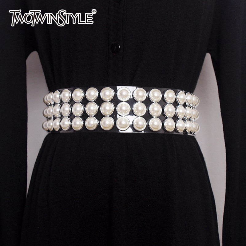 TWOTWINSTYLE Pearls Belt Female Diamonds Patchwork Transparent Wide Belts Summer Fashion Harajuku Cummerbunds Accessories 2020