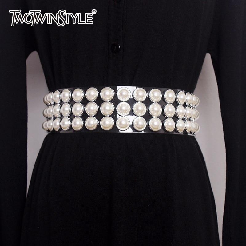 TWOTWINSTYLE Pearls Belt Female Diamonds Patchwork Transparent Wide Belts Summer Fashion Harajuku Cummerbunds Accessories 2020