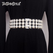 TWOTWINSTYLE Pearls Belt Female Diamonds Patchwork Transpare