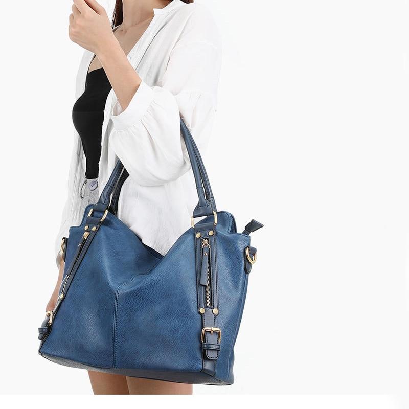 Women\'S Vintage Shoulder Hobo Bag Real Split Leather Handbag Design Female Leisure Top-Handle Bag Large Casual Shopping Tote