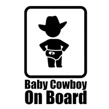 9.8*15.2CM BABY COWBOY ON BOARD Funny Warning Decals Creative Car Tail Decorative Stickers C1-4008