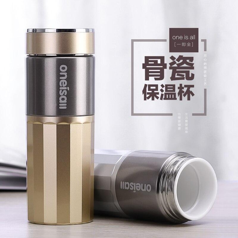 Os doublure porcelaine Thermos CupThermo Tasse En Acier Inoxydable Thermos Tasse de café isolés Thermo bouteille Pour Fiole À Vide de Thé Tasse