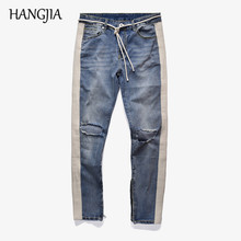 High Street Striped Hole Jeans New Trend Men's Washed Distressed Ankle Zipper Skinny Denim Pants Straight Slim Fit Biker Jeans