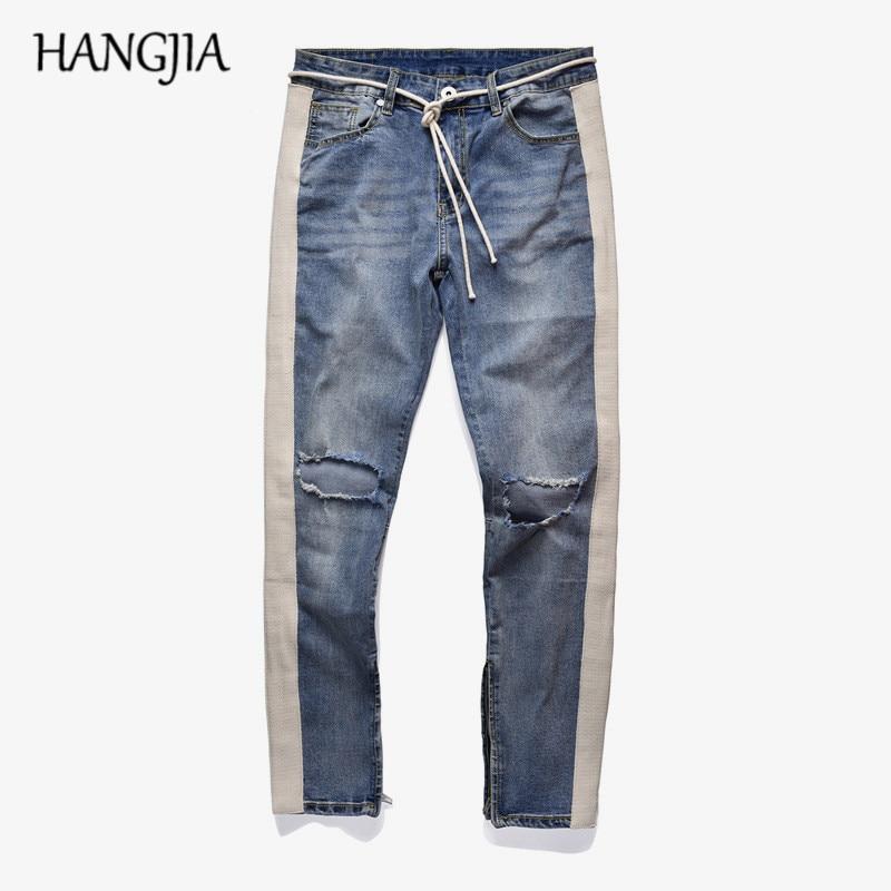 High Street Striped Hole   Jeans   New Trend Men's Washed Distressed Ankle Zipper Skinny Denim Pants Straight Slim Fit Biker   Jeans