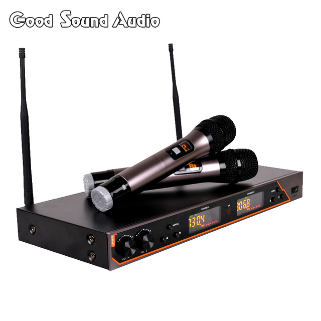 UR6S Professional UHF Karaoke Wireless Microphone System 2 Channels Cordless Handheld Mic Mike For Stage Speech KTV 80M Distance