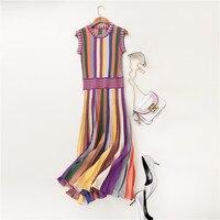 Лидер продаж, летняя модная женская одежда, трикотаж, Радужный полосатый свитер, платье с круглым вырезом, без рукавов, до середины икры, пли...