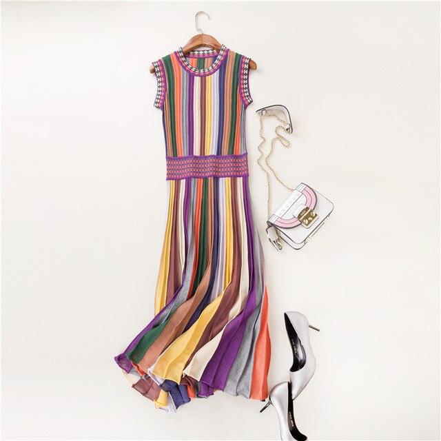 1f64217139129 حار بيع الصيف أزياء ملابس حريمي تريكو قوس قزح سويتر مقلم اللباس جولة الرقبة  أكمام منتصف