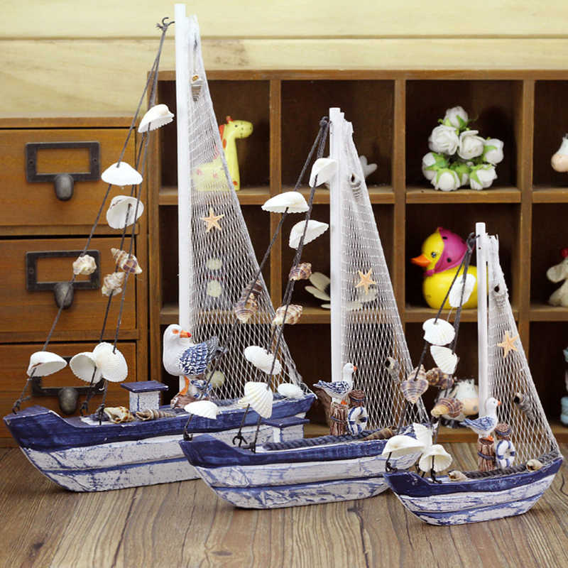Mediterranean Style Retro Sailing Boat Figurines Ornaments Wooden Crafts Blue Ship Shell Boats Miniature Home Office Decor Gifts
