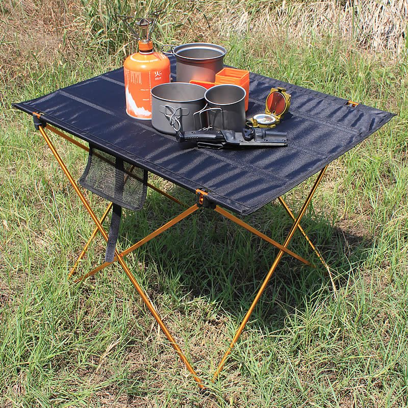 Portable Camping Side Tables with Aluminum Table Top: Hard Topped Folding Table in a Bag for Picnic, Camp, Beach, Boat