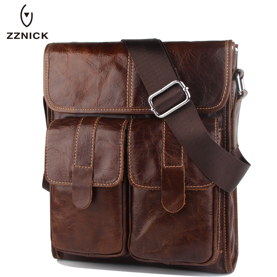 ZZNICK 2018 New Men Genuine Leather Messenger Bag Fashion Design Oil Wax Cowhide Leather Crossbody Shoulder Bag Men Casual Bags