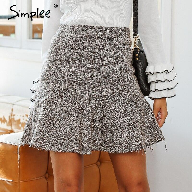 Simplee A-line ruffles short skirts women Winter tweed mini skirt offical lady Streetwear high waist autumn skirt female 2018 a-line