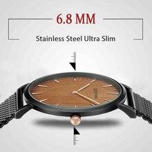 יוקרה למעלה מותג קוורץ שעון גברים של רוז זהב יפן נירוסטה Mesh להקת שעון יד ultra דק שעון זכר חדש עץ פנים