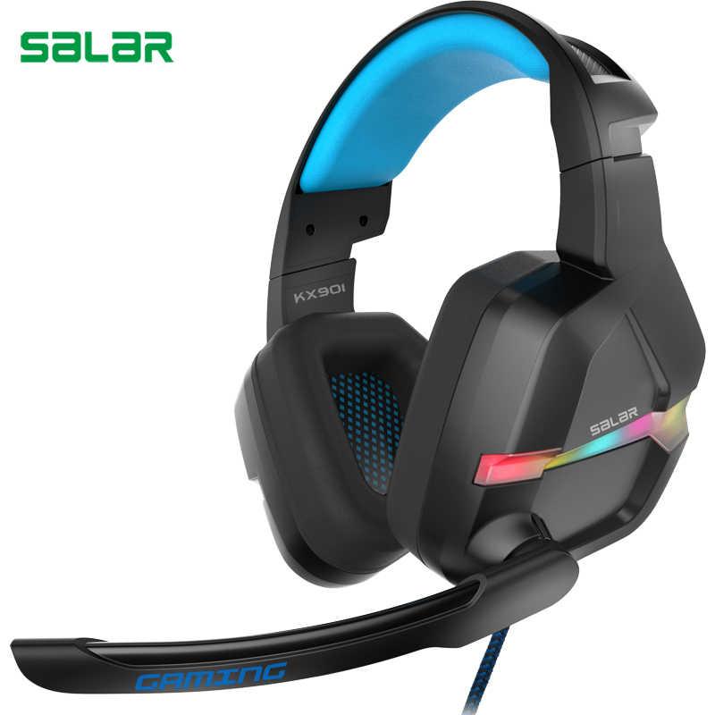 Salar KX901 zestaw słuchawkowy do gier przewodowe z pałąkiem na głowę z mikrofonem/światła LED na ucho Stereo głęboki bas dla graczy komputerowych słuchawki słuchawki