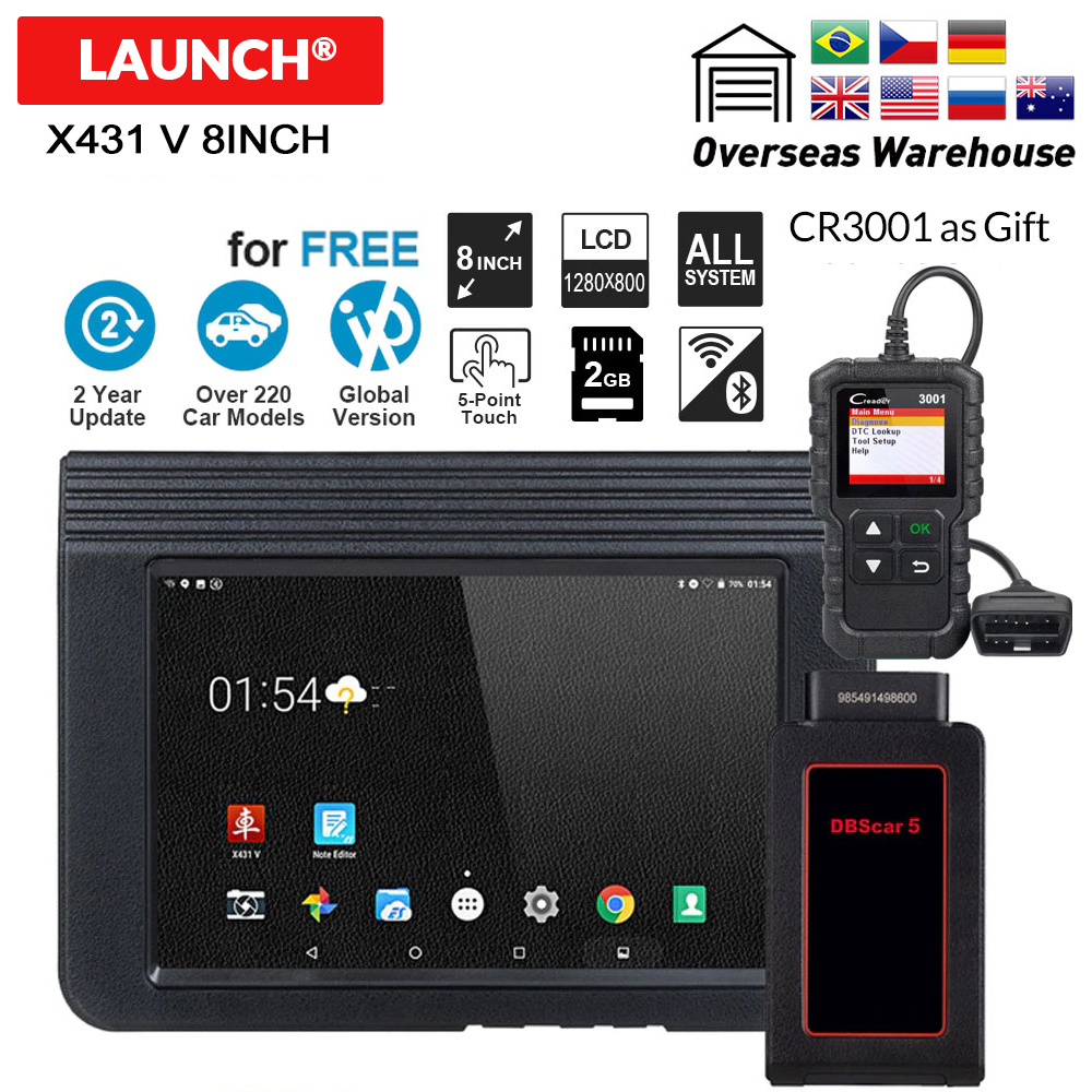 LAUNCH X431 V 8inch Auto OBD2 Diagnostic tool Bluetooth Wifi Full System Support Multi Language Online