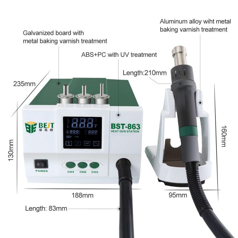 BST 863 свинца термостатический тепловые пушки Термовоздушная паяльная станция 1200 Вт интеллектуальный цифровой дисплей паяльная станция для ...