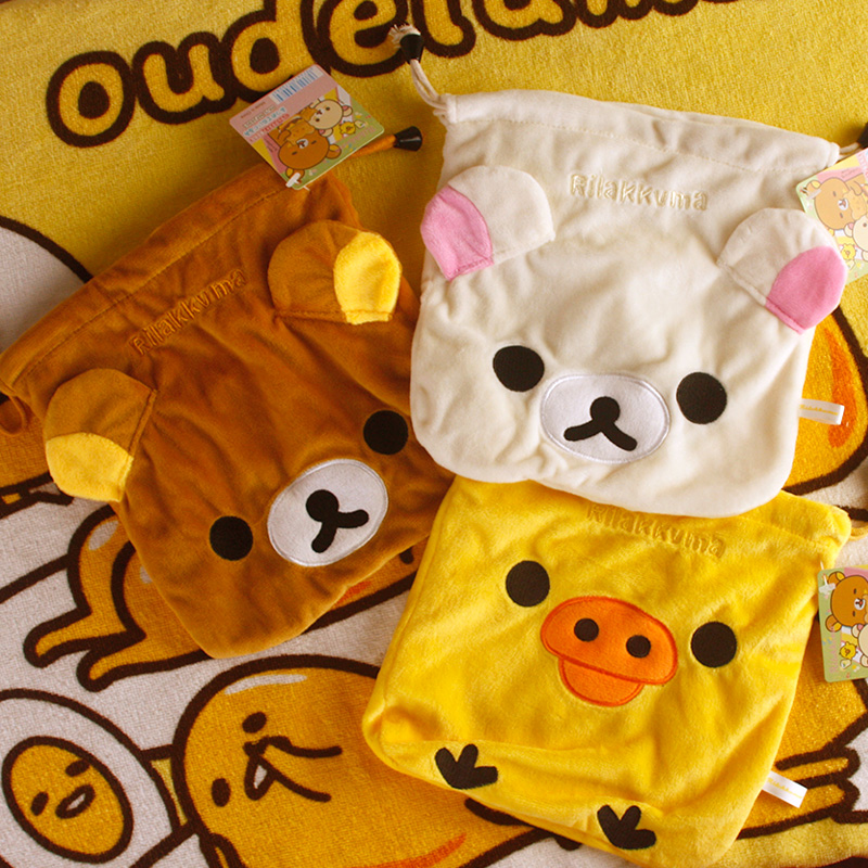 Rapture Cool 1pcs Rilakkuma Bear Cartoon Drawstring Bags Cute Plush Storage Handbags Makeup Bag Coin Bundle Pocket Purse New Delaying Senility Drawstring Bags