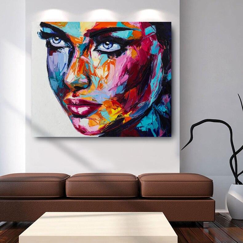 Embellir grande taille fantaisie femme visage HD impression toile peintures à l'huile moderne mur Art affiches pour salon décor à la maison photos