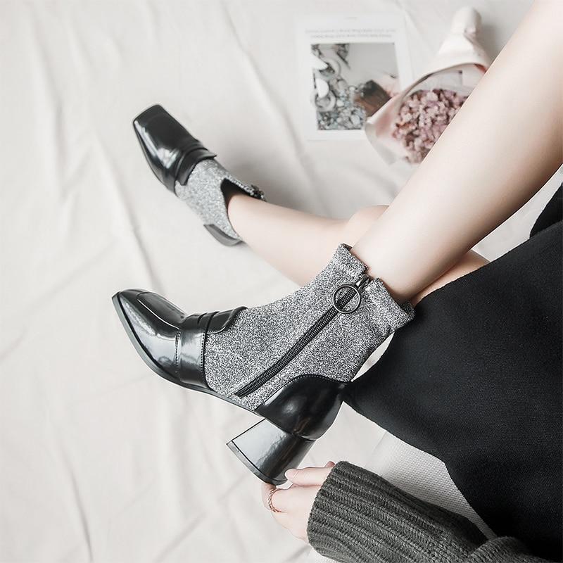 Black Calcetín Microfibra Grey Las Calzado Mujeres Dama Zapatos Suru Tiras Tobillo Zip Patchwork Negro Tacón Del black Pie Squrare Dedo De Botas 1qXHdxdtw