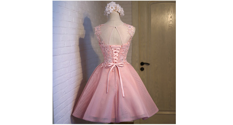 Short Evening Dress 2018 Sweet Pink O-neck Lace Ball Gown New Bride Party Formal Dress Custom Homecoming Dresses Robe De SoireeC 5