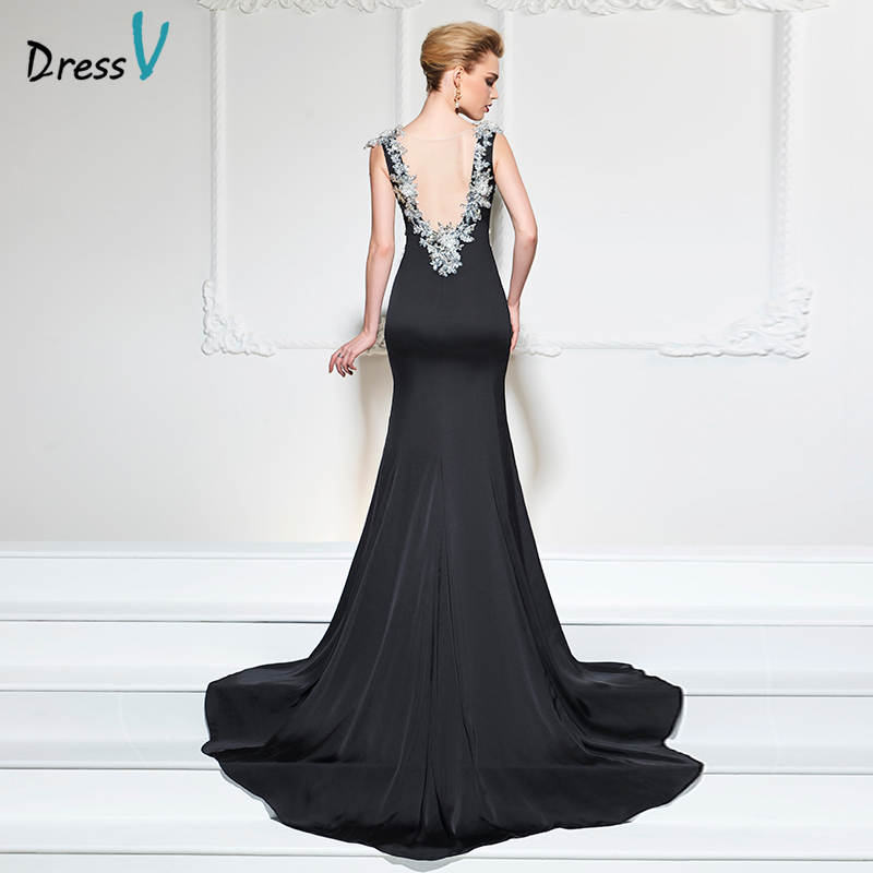 Dressv black elegant long backless   evening     dress   court train scoop neck wedding formal party   dress   trumpet stain   evening     dresses