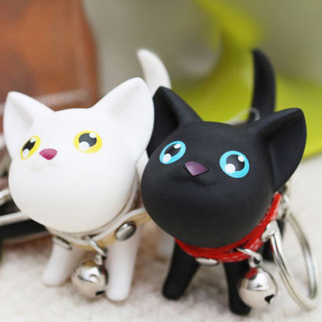 Cat Kitten Bell Toy Lover Key Chain Rings