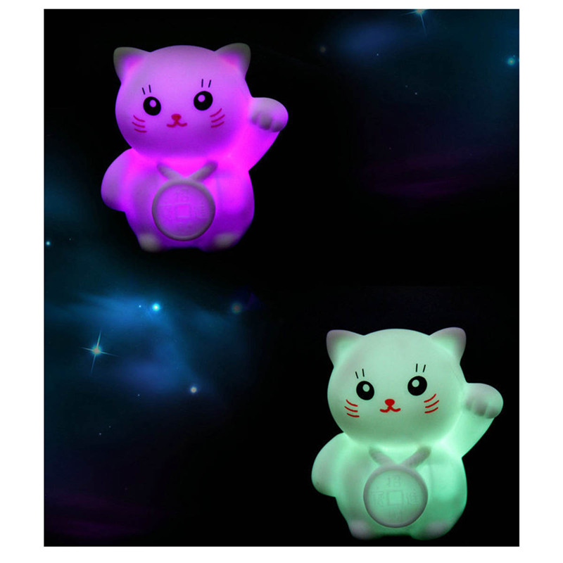 1PC Cute night lights colorful changing cat led night lamp for children bedroom dectorat ...