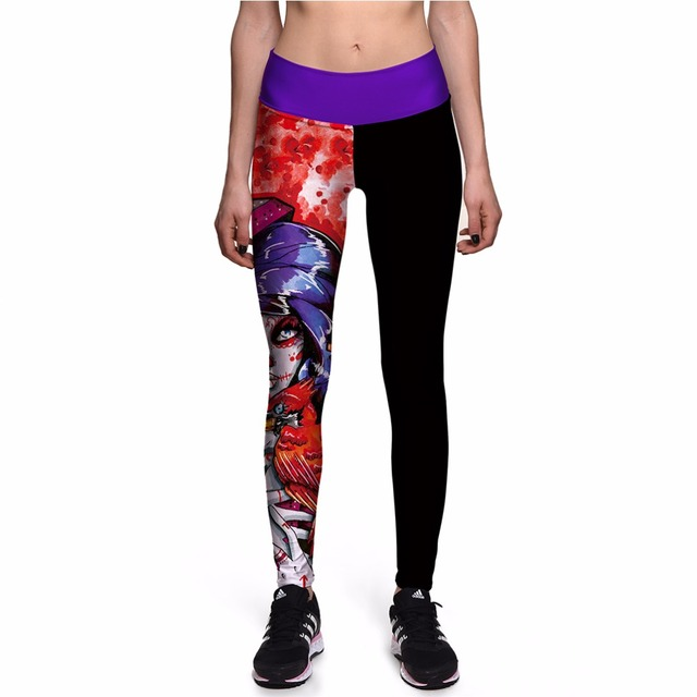 NEW 0050 Sexy Girl Fashion Hero Blood Skull Death Prints Slim High Waist Workout Fitness Women Leggings Pants Trousers Plus Size