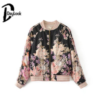 DayLook 2017 Floral Embroidery Bomber Jacket For Women Baseball Chic Outerwear Autumn New Style Loose Sakura
