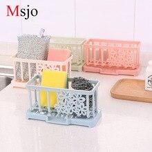 Msjo սպունգ կրող լվացարան պատի հոնքի պահեստավորման դարակաշարային հոլովակ խոզանակ խոզանակ դարակաշարերի չորացման դարակաշարեր Խոհանոցային լոգարանի պարագաների կազմակերպիչ