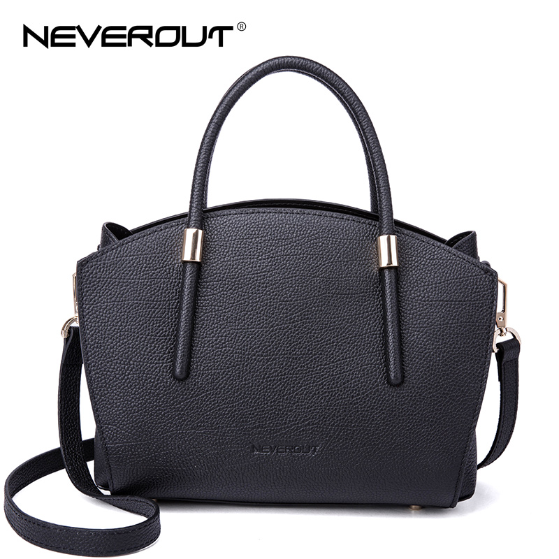 NEVEROUT 3 Color Brand Women Bag Genuine Leather Handbags High Quality Chic Tote Totes Crossbody Bags Simple Dress Style Handbag neverout oil wax style split leather bag for women vintage boston bag shoulder sac 3 color handbags tote zipper tote new handbag