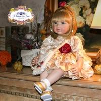 Soft Silicone Vinyl Dolls 22 Princess Toddler Braid Hair Doll Collectible Luxury Soft Body Lifelike Bebe juguetes Girls Toys
