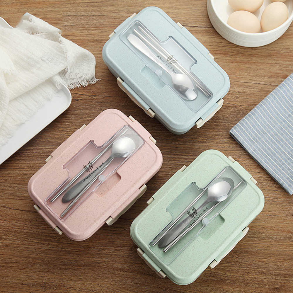 3 Colors Microwave Lunch Box Wheat Straw Dinnerware Food Storage Container Children Kids School Office Portable Bento Box