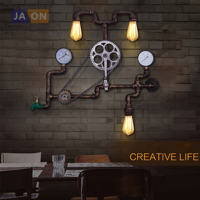 E27 Edison Loft Industrial Iron Pipe LED Lamp LED Light Wall lamp Wall Light Wall Sconce For Bar Store Bedroom