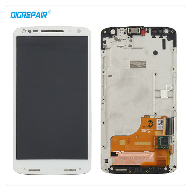 """5.43"""" White For Motorola Moto Droid Turbo 2 XT1580 XT1581 XT1585 LCD Display Touch Screen Digitizer Assembly Repair Parts+Frame"""