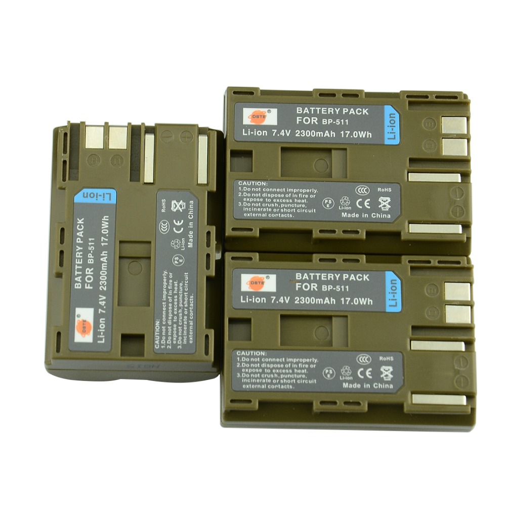 DSTE 3 pcs BP-511 BP511A Batterie pour Canon 20D 30D 40D 50D 300D 5D 10D MV 30i 300 300i ZR20 25MC PowerShot G1 G2 G3 G5 G6 90 90IS