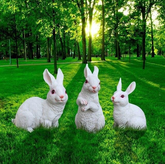 Us 360 Harz Ornamente Handwerk Garten Skulptur Simulation Tier Weiß Künstliche Kaninchen Decor Bugs Bunny In Harz Ornamente Handwerk Garten