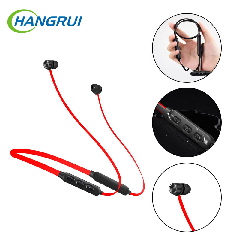 Hangrui Bluetooth Earphone Sports Wireless Headphones Stereo Magnetic Bluetooth Headset for iPhone Xiaomi for IOS Android new k6 bluetooth headset earphone voice command auto answers for iphone android busiess bluetooth headphones with storage box