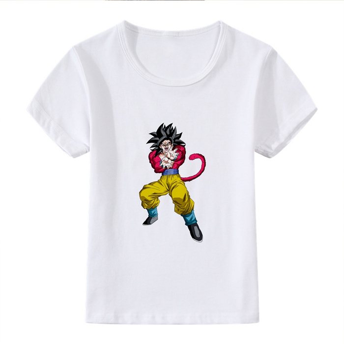 Gift for children DRAGON BALL Z Son Goku Cartoon Modal Kidswear Boy girl Summer T shirt Short Sleeve White Kid Clothes in Matching Family Outfits from Mother Kids