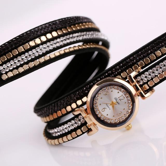 Duoya Brand Fashion Women Bracelet Watch Leather Luxury Women Crystal Wrist Watch Quartz Watch Gold  Rhinestone Wristwatch