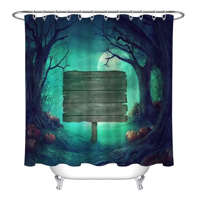 LB Shower Curtain Spooky Forest With Dead Trees And Pumpkins Wood Sign Halloween Bathroom Curtains Fabric For Men Bathtub Decor