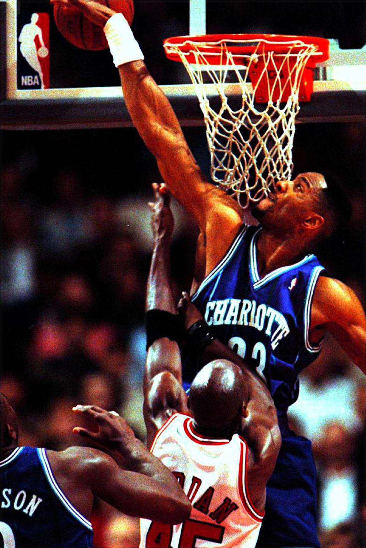 DIY marco Alonzo Mourning bloque tiro Michael Jordan bandeja tela de ...