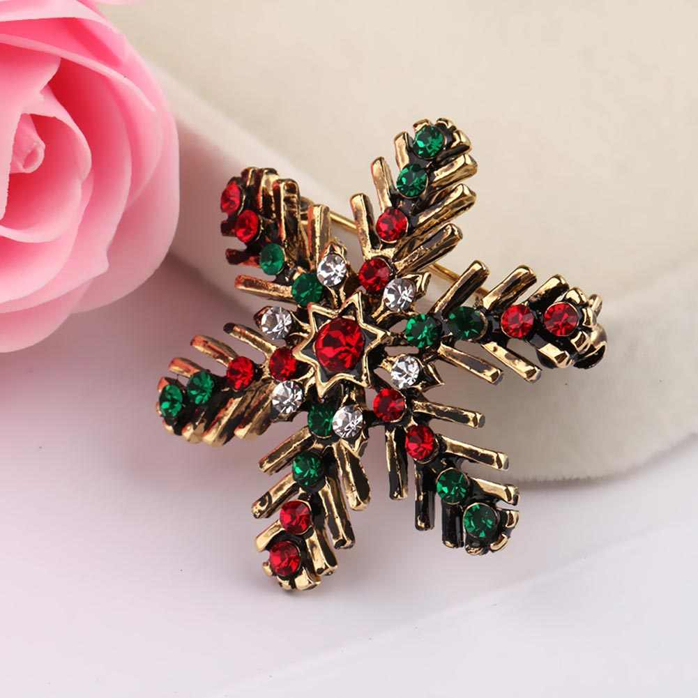 New Lady Fashion Winter Brooch Sparkling Crystal Rhinestones Large Snowflake Brooch Pins Jewelry Brooches Women Christmas Gift